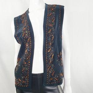 Vintage Boho Beaded Vest M/L